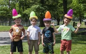 group photo boys with funny hats