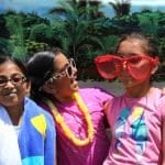 three girls funny glasses