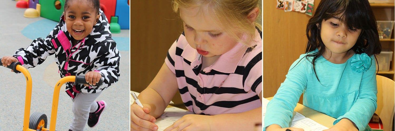 nrc children on bike, drawing and writing