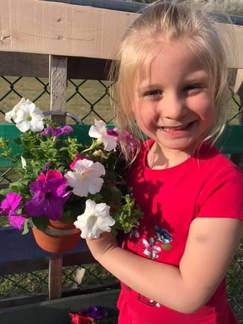girl with flower pot