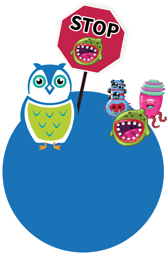 blue circle and germs